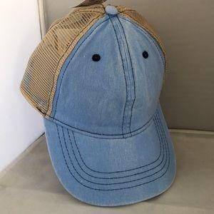Time and Tru mesh back hat cap blue denim NWT